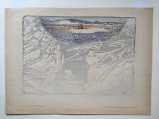 Heine RATH original woodcut in colors 1900  art nouveau secession EISBLUMEN