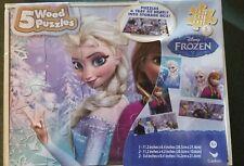 Disney Frozen 5 Wood Puzzles In Wooden Storage Box Tray Elsa Anna SEALED