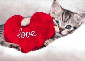 Avanti funny greeting card Valentine Valentine's love kitten heart kisses
