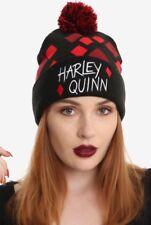 DC Comics Harley Quinn Diamonds Knit Winter Pom Beanie Ski Hat New With Tags!