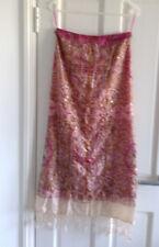 Debra McGuire fuchsia and cream long silk skirt - Size US 6