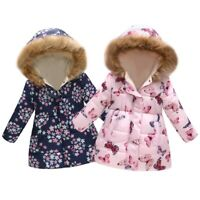 Toddler Baby Kids Girl Floral Butterfly Winter Warm Jacket Hooded Windproof Coat