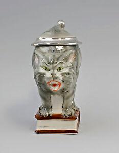 9997109 Bierkrug Sammler-Krug Humpen Katze grau 0,25l Ernst Bohne H16cm