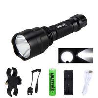 White T6 8000Lm LED Flashlight Hunting Torch Camping Lamp 18650 Mount Gun Switch