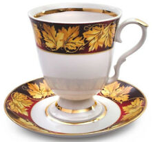 Large Mug with Saucer Autumn Leaves Decal Made in Dulevo, Russia 20 fl oz