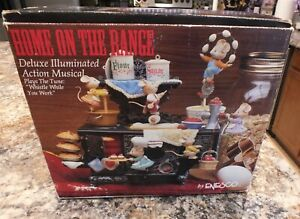 """Enesco Music Box """"HOME ON THE RANGE """" Stove Mice Lighted Action Musical  READ"""