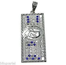 One Hundred 100 Dollar Bill Pendant Iced-Out Blue Stones Cash Silver Tone Charm