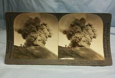 Antique Keystone Stereoview Card #16400 A Volcanic Eruption In Java Volcano