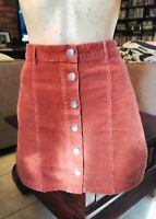 FOREVER NEW BROWN / RUST CORDUROY A-LINE BUTTON UP SKIRT SIZE 10.