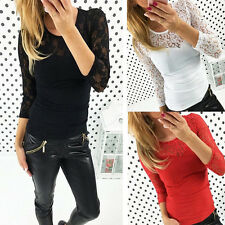 Women Sexy Lace V-neck Long Sleeve Ladies T-Shirt Top Stretch Casual Blouse Tops