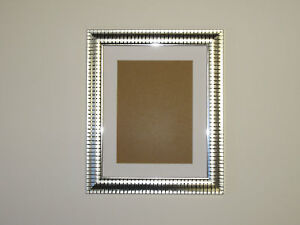 Two Tone Silver 7x9 Picture  Photo Frame  Mount 4.5x6.5 Hang