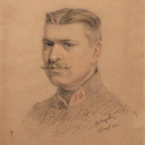 Charles Mazelin (1882-1968), Antique French Drawing Portrait, Soldier WWI, 1916