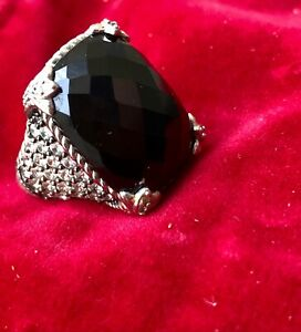 Judith Ripka 925 Sterling Silver Faceted Black Onyx and DMQ (CZ) Ring Size 6