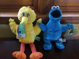 """SESAME STREET BIG BIRD 14"""" SOFT PLUSH Beanie GUND & 11"""" Cookie Monster, NWT"""