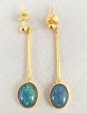 Unique Large Longer Design Triplet Opal Drop Dangling Earrings 18ct Gold Plated