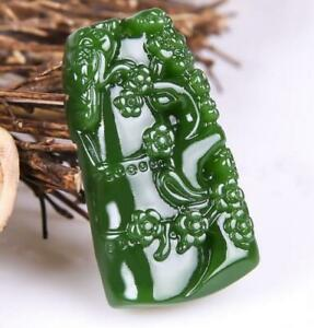 Natural jade  Necklace bamboo Jewelry New  竹报平安 Amulet Green Jade Pendant