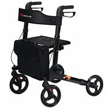Folding Medical Rollator Lightweight Aluminum Walker Seniors w Adjustable Handle
