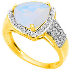 LOVELY 3.10 CTW GENUINE DIAMOND & CREATED FIRE OPAL IN 925 STERLING SILVER RING