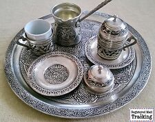 11 Pcs TURKISH COFFEE &ESPRESSO SERVICE SET %100 HANDMADE COPPER OTTOMAN STYLE