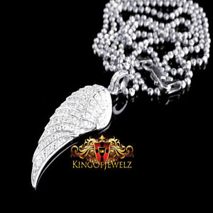 Solid Sterling Silver 14K White Gold Finish Single Angel Wing Pendant Chain Set