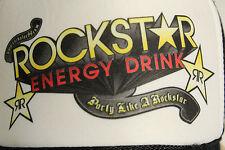 ROCKSTAR ENERGY DRINK  Ball Cap White W/ Multi-Color Logo Trucker Mesh Snap RARE