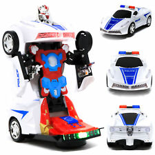 NEW BATTERY OPERATED ROBOT POLICE TRANSFORMER TOY CAR WITH LIGHTS SOUND bump car