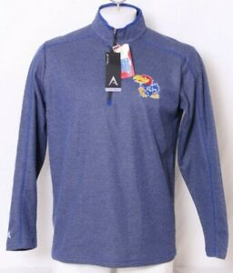 NEW Kansas KU Jayhawks Antigua Shirt 1/4 Zip Pullover Blue Jacket Men's L