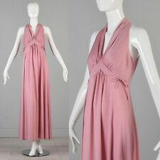 feae55a6d XS Vintage 1970s 70s Pink Boho Maxi Dress Summer Halter Empire Waist Day  Casual