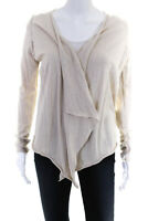 Zadig & Voltaire Womens Long Sleeve Open Front Cardigan Sweater Beige Size Small