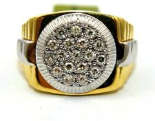 Style Ring 14k Yellow Gold .50Ct Natural Round Diamond Cluster Bezel Men's Rolex