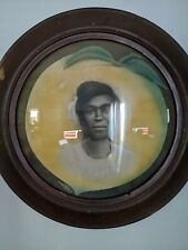 Antique Vintage African American Woman Lady portrait picture bubble glass frame