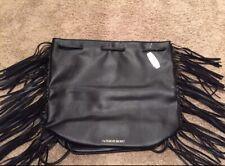 NEW Victoria Secret Black Leather Fringe Backpack Purse Tote VS