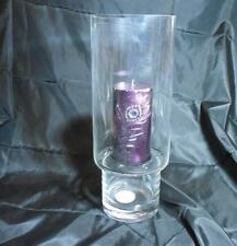 """15.75"""" High Clear Glass Hurricane Candle Holder with Tray & Polished Stones"""