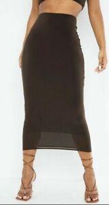 Prettylittlething chocolate brown midi skirt/dress Size 10