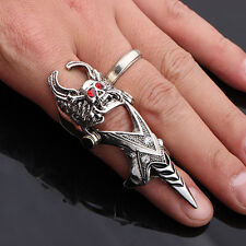 New Fashion Skull Rhinestone Punk Finger Ring Long Armor Ring Silver Alloy