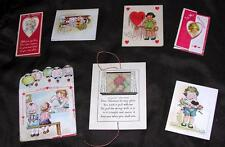 7 Vtg Die Cut 1920'S Novelty Fold Valentines, Made Usa, Heavy Card Stock