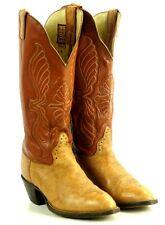 "Hondo 16"" Tall Top Cowboy Western Boots Caramel & Tan Leather Handmade Men's 8 B"
