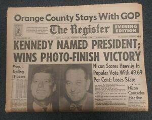 John Kennedy Elected President - 1960 Santa Ana, California Newspaper