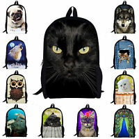 Women Girls School Bag Owl Cat Satchel Backpack Rucksack Teen Shoulder Bookbag
