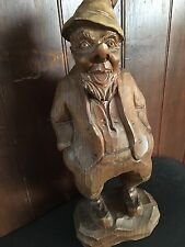 Vintage Black Forest German Hand Carved Wood Gnome Fairy Jolly Elf Figure Statue