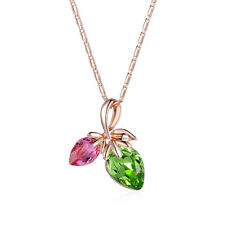Amlong Crystal Rosetone Red and Green Crystal Leaf Pendant Necklace