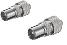 2 X MALE TV COAX ARIEL CONNECTOR PLUGS TV AERIAL FOR CABLE LEAD silver