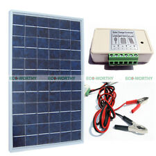 10W PV Solar Panel W/ 3A Solar Controller & Battery Clips 12V Car Battery Charge