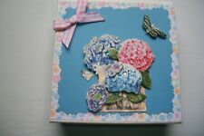 Hand Decorated Anytime Jewelry/Gift Card Box Holder Pink & Blue Purple Flowers