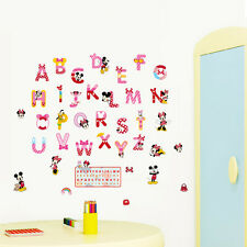 ABC Mickey Minnie Wall Stickers Vinyl Mural Alphabet Decals Kids Nursery Decor