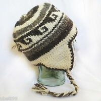 SHERPA HAT; ski cap; hand knit from Nepal 100% wool and fleece lined