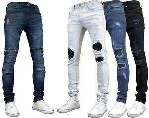 526Jeanswear Mens Distressed Skinny Fit Stretch Denim Ripped & Zipped Jeans
