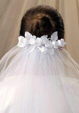 FREEPOST V04 GIRL WHITE 1ST HOLY COMMUNION HEAD DRESS 2T  VEIL FLOWER CLEAR COMB