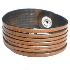 BROWN REAL LEATHER QUALITY CUFF BRACELET WITH BANDS STRAPS WITH PRESS STUD