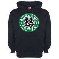 Funny Slogan Hoody Hoodie Guns & Coffee Joke Humorous Dad Gift Present